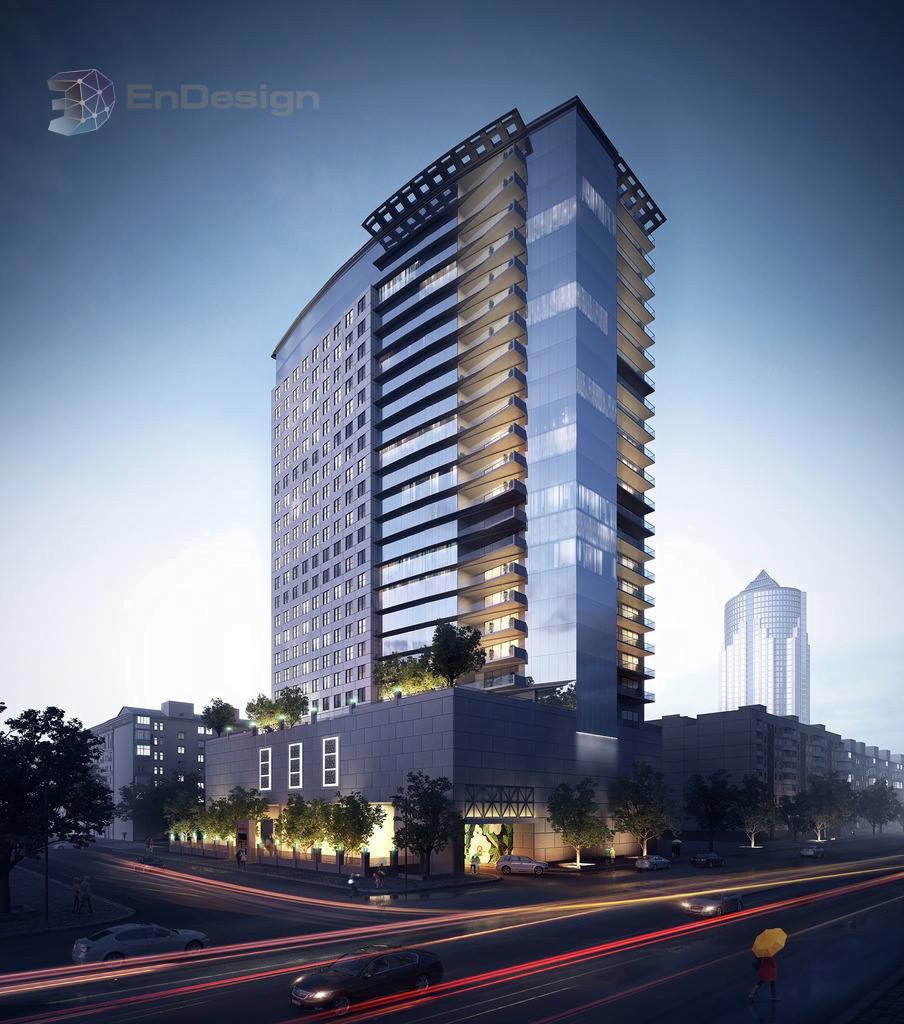 3D Rendering: Urban condominium on busy parkway