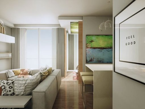 Virtual interior view of upscale modern apartment