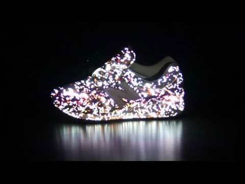 sport shoes overlaid with 3d projection mapping