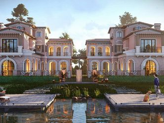 3D Animation cover - Luxurious mansion facing waterfront, with animated character standing with dog.