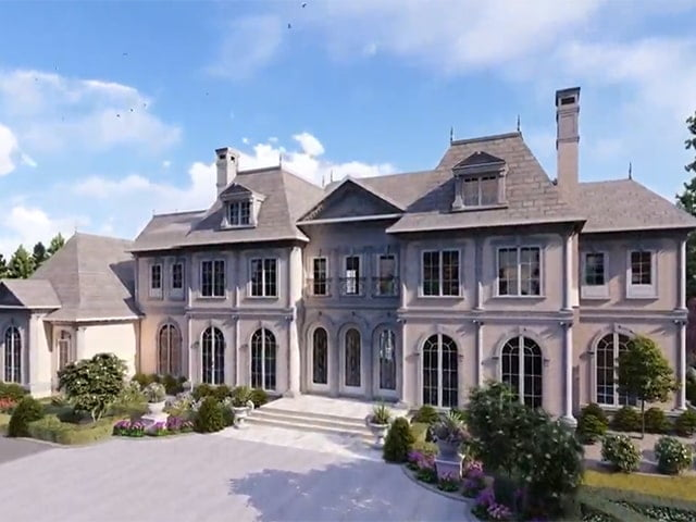 Architectural visualization of large white mansion with large driveway and beautiful gardening decor