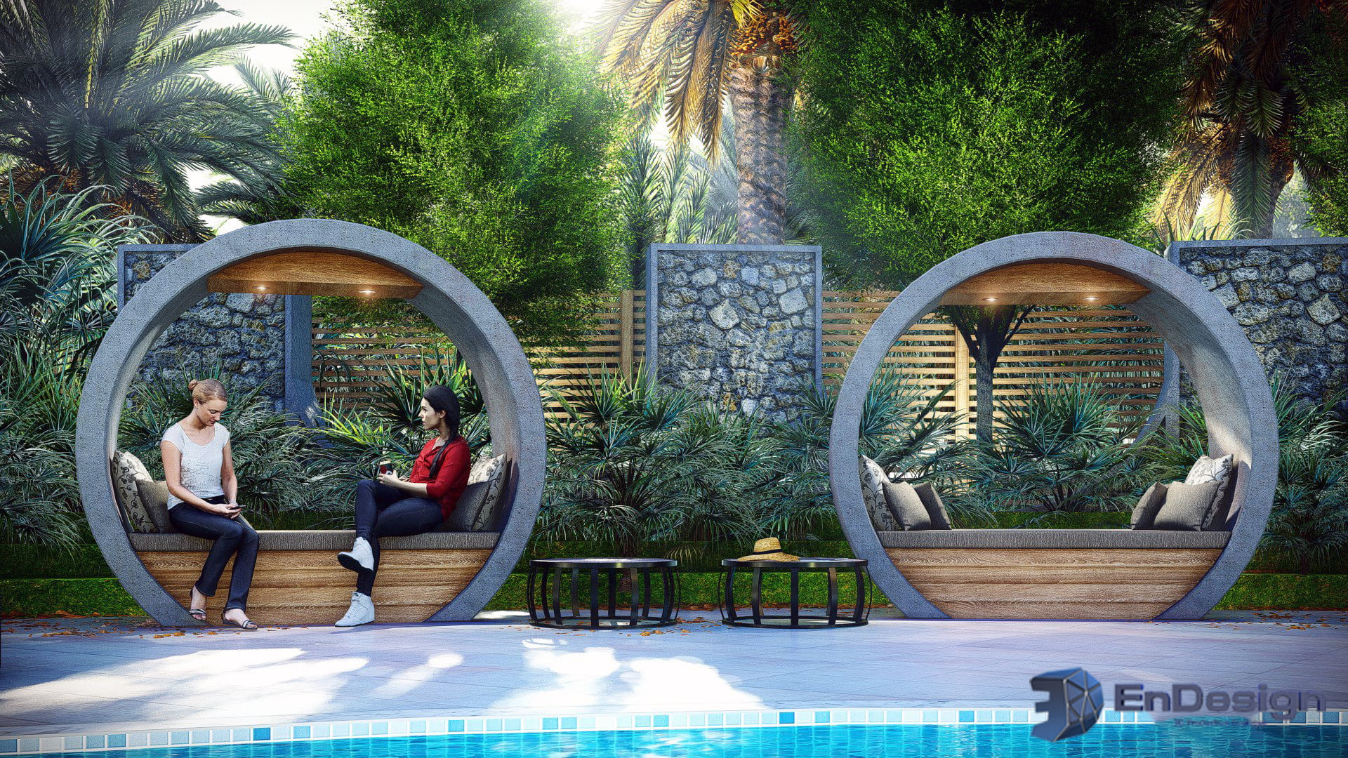 EnDesign outdoor pool seating - Greater Toronto Area 3D Rendering