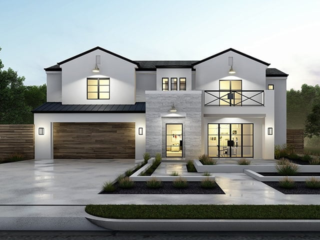 3D Rendering of white modern-styled home with wooden garage door